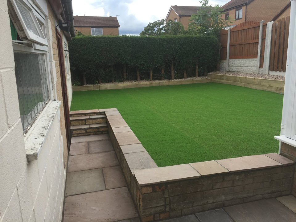 back garden with fake grass