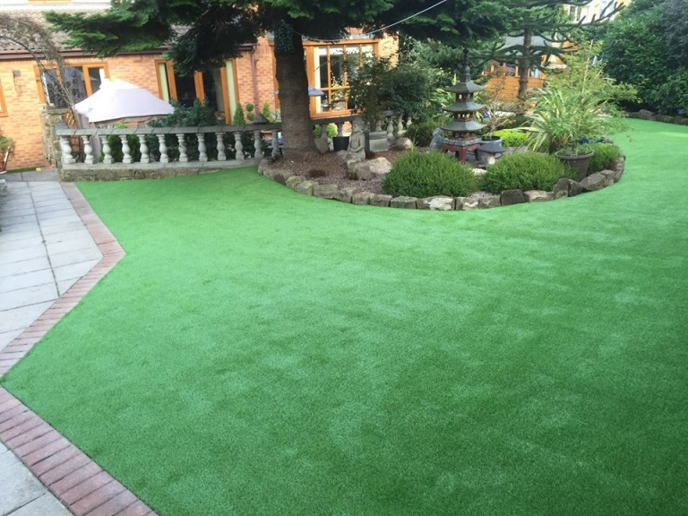 fake turf laid in a beautiful garden