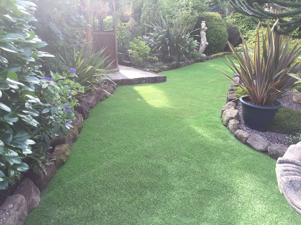 plastic grass in a Nottingham garden