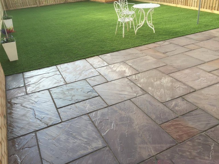 how to lay artificial grass image of back yard