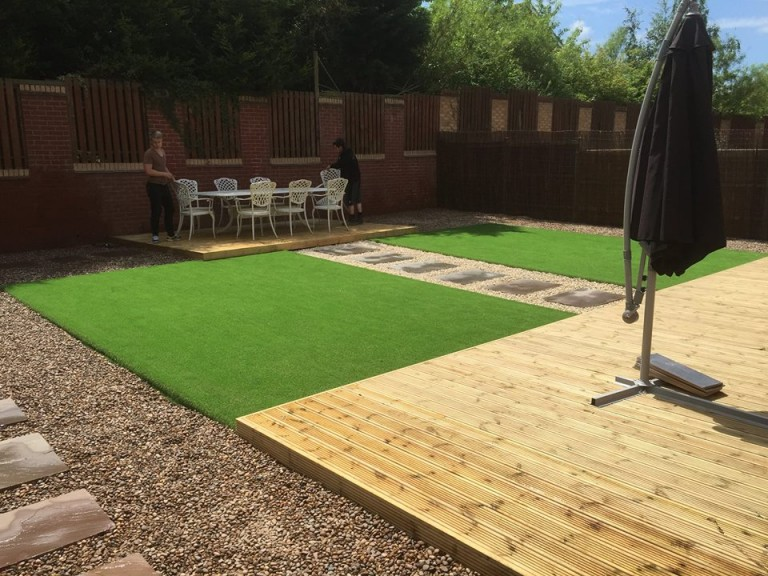 new fake lawn with path and decking West Bridgford